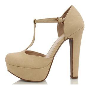 Beige closed toe t strap platform high heel